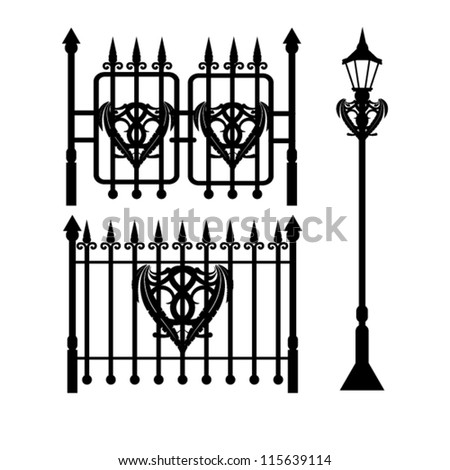Photos Wrought Iron Fence Isolated Stock Photo 94676092