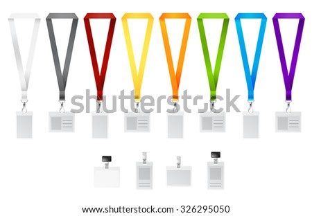 Set of lanyards with different colors ribbons. Vector illustration - stock vector