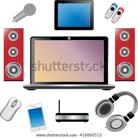 Set laptop speakers phone tablet microphone stock vector 416860513 set of laptop speakers phone tablet microphone wireless router flash greentooth Images