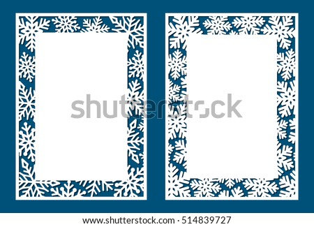 Set Of Laser Card With Snowflakes. Template May Be Used For Laser Cutting.  Suitable