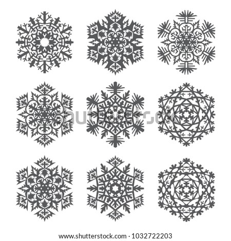 Set Laser Cutting Openwork Snowflakes Template Stock Vector Hd
