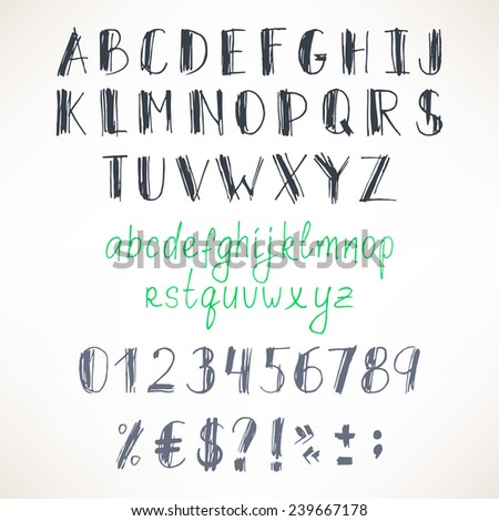 set of Latin hand-drawn gray and green letters and numbers - stock vector