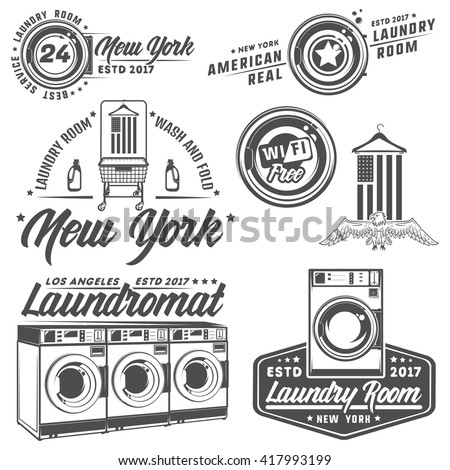 Set Of Laundry Roomlaundrylaundromat For Emblems And Design