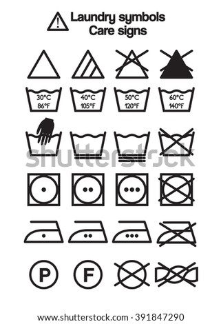 Set Of Laundry Symbols Care Signs And Labels