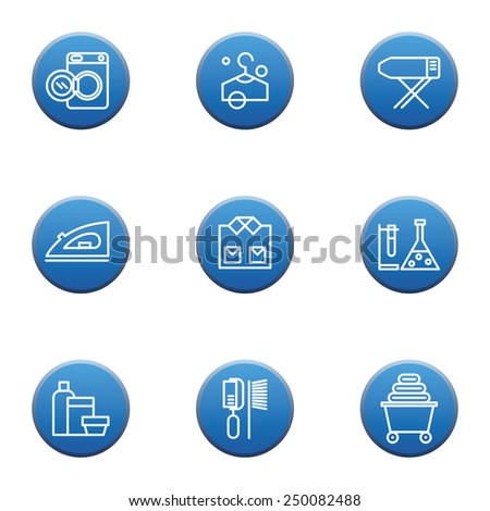 Set of laundry vector icons, dry-cleaning objects, blue button - stock vector