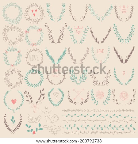 Set of Laurel Floral Wreaths and Frames. Hand drawn laurels, frames, hearts and bird. Decorative elements - stock vector