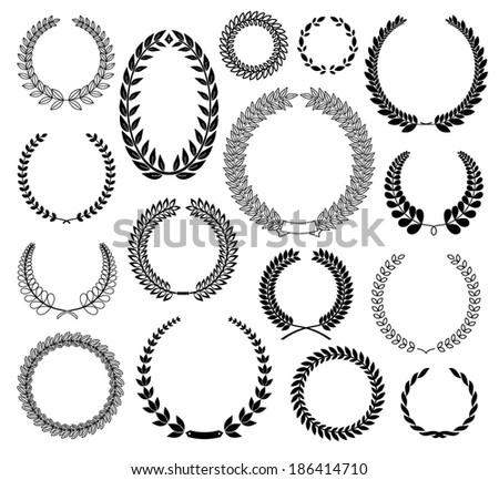 Set of Laurel Wreaths. Vector illustration. - stock vector