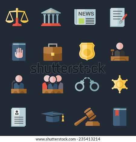 Set of  law and justice flat icons with a judge gavel lawyer mortarboard hat scales court jury sheriffs star law books briefcase scribe and lock for a prison - stock vector
