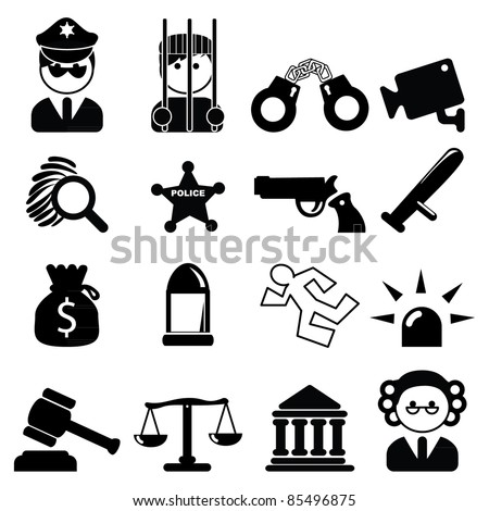 Set of law and justice icons-Silhouettes - stock vector