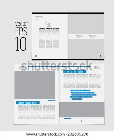Set of layouts. Open magazine, vector Illustration. - stock vector