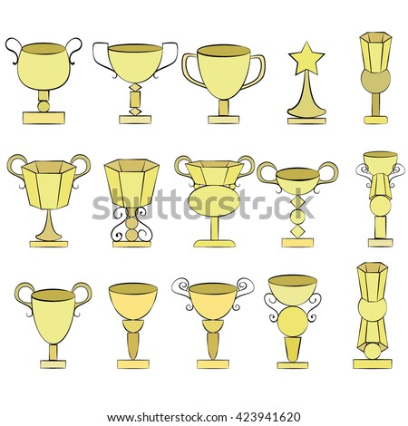 Set of leadership symbols of Euro 2016 in France. Championship cup. Prize for game. Eurocup. Winner prize trophy. Euro football cup. Achievement for competition.  2016 World Cup of Hockey. Vector - stock vector