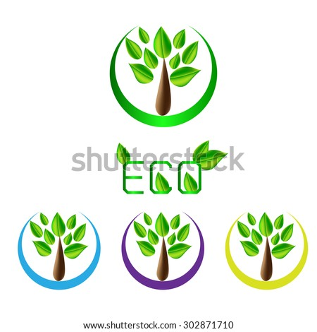 set of leaf and tree eco