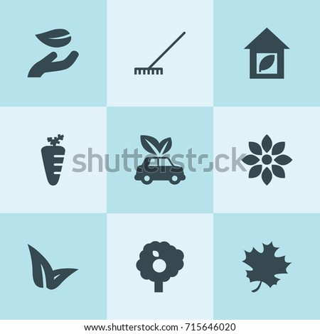 Set of 9 leaf filled icons such as rake, flower, leaf in hand, fruit tree, carrot, eco car
