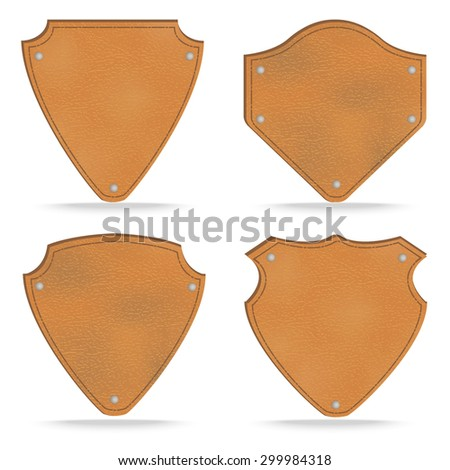 Set of leather tag labels on white ,Vector illustration - stock vector