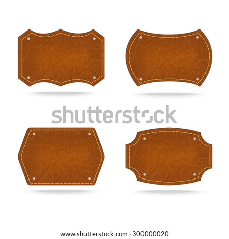 Set of leather tag on white background ,Vector illustration - stock vector