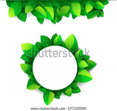 Set of leaves frames - stock vector
