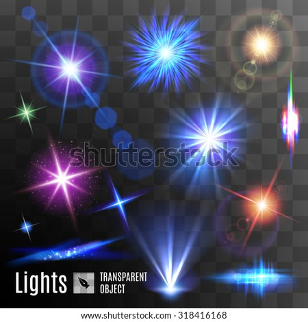 Set of lens flares beams and flashes on transparent background - stock vector