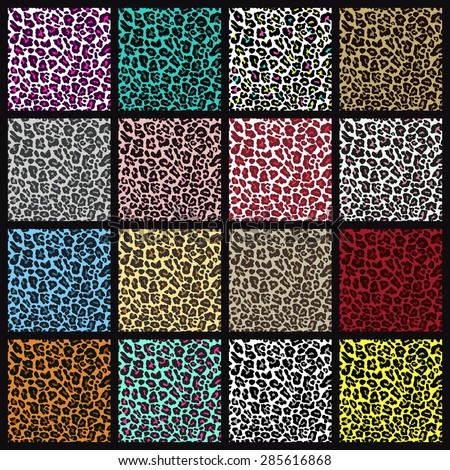 Set of leopard seamless patterns. Vector EPS8 illustration.  - stock vector