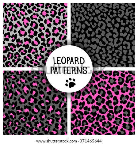 Set of leopard skin print patterns. Repeating seamless vector animal background. Abstract jaguar texture. Neon color. Wallpaper, cloth design, fabric, paper, wrapping, textile design template.  - stock vector