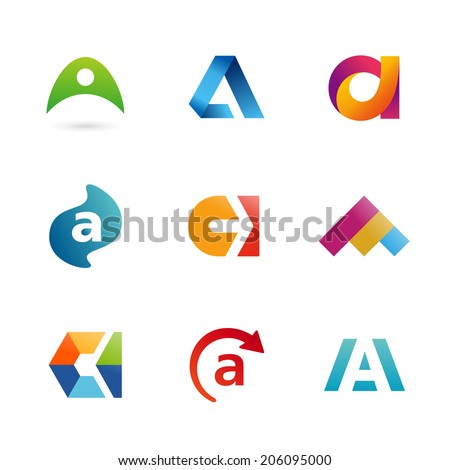 Set of letter A logo icons design template elements. Collection of vector signs. - stock vector
