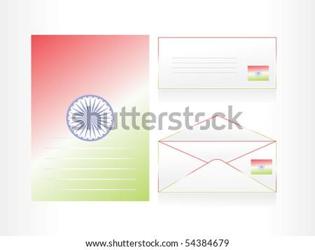 set of letterhead, envelop and postcard, vector illustration - stock vector