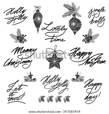Set of lettering, calligraphic text elements in vintage style. Christmas and New Year design collection, - stock vector
