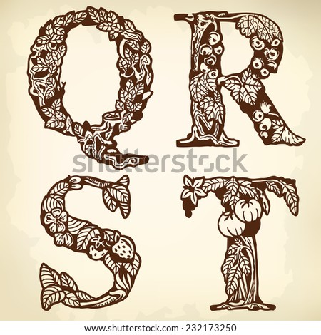 Set Of Letters The Alphabet Drawing Vintage