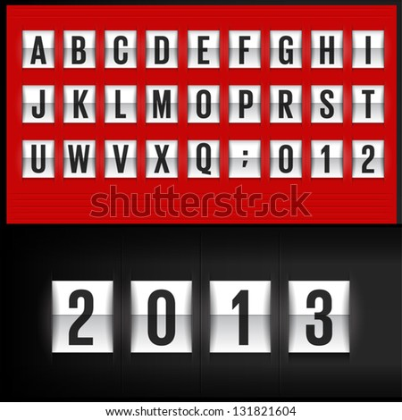 Set of letters on a mechanical timetable - stock vector
