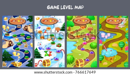 Set level maps assets forest world mobile stock vector 766617649 set of level maps assetsrest world mobile game user interface gui map screen gumiabroncs