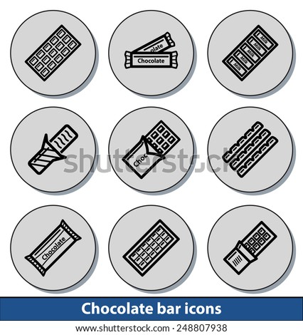 Set of light chocolate bar icons with reflection line and thin lines - stock vector