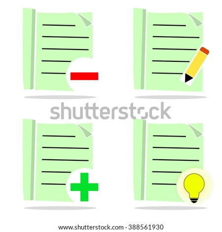 Set of light green icons, editing - stock vector