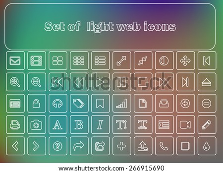 Set of light-style web and mobile icons.