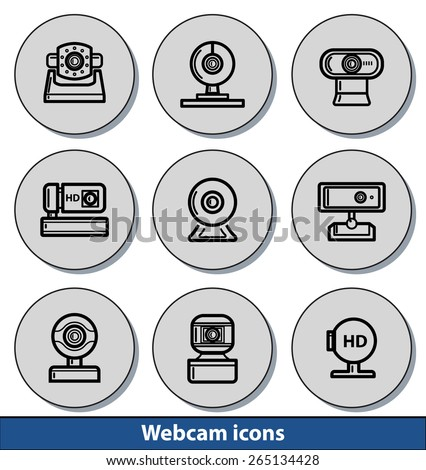 Set of light webcam icons with reflection line - stock vector