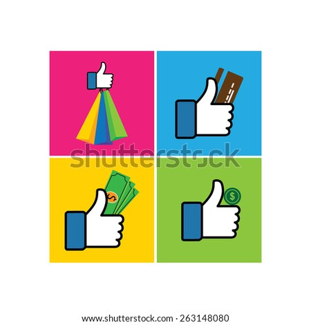 set of like hand symbols of thumbs up with shopping bags - vector icon. This also represents internet shopping, e-commerce & m-commerce, online transaction, credit card, debit card, dollar, money cash - stock vector
