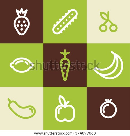 Set of Line Art Icons. Healthy Vegetables and Fruits - stock vector