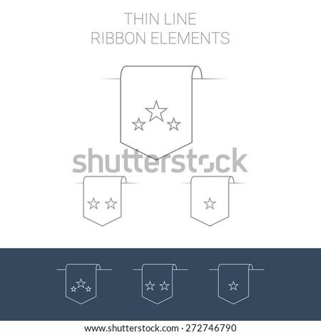Set of line art ribbon bookmark elements. Stars for rating systems. Modern outline icon design. Eps10 vector illustration. - stock vector