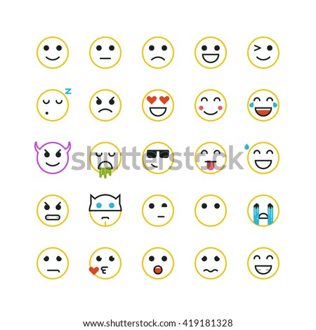 Set of line art yellow emoticons on white background. Vector emoticons illustration. Emoticons vector set. Emoticons web icons. Emoji iocns. Smiley faces. Set of Emoticons. Set of Emoji. Smile icons.