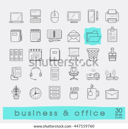 Set of line business and office icons. Collection of premium quality web icons. Vector illustration.
