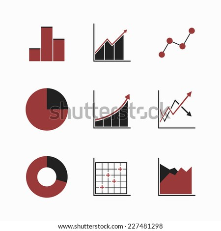 Set of line chart and diagram (black-red) icons. Isolated on white background. Vector illustration, eps 8. - stock vector