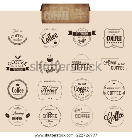 Set of line coffee badges and labels for bar and restaurant menu.