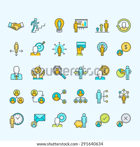 Set of line color people icons for business and finance     - stock vector