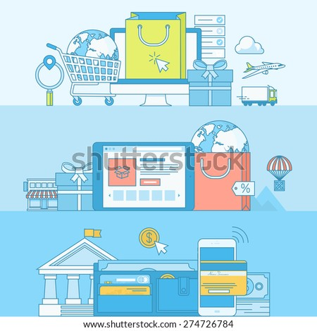 Set of line concept banners with flat design elements. Concepts for e-commerce, m-commerce, online shopping, online payment, m-banking. - stock vector
