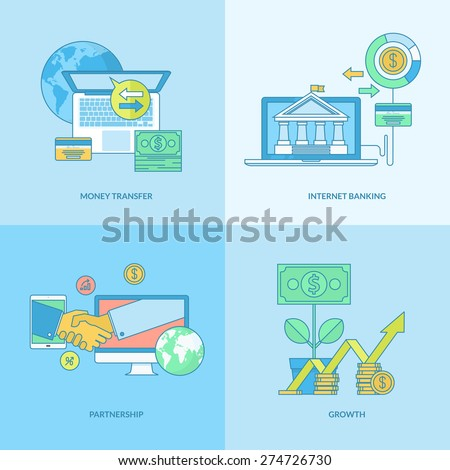 Set of line concept icons with flat design elements. Icons for business, finance, banking, internet banking. - stock vector