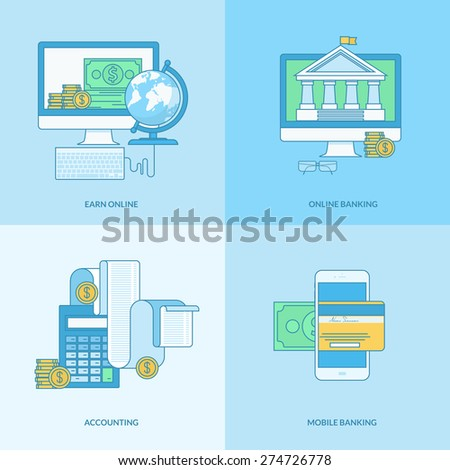 Set of line concept icons with flat design elements. Icons for m-banking, online banking, finance, accounting, earn online. - stock vector