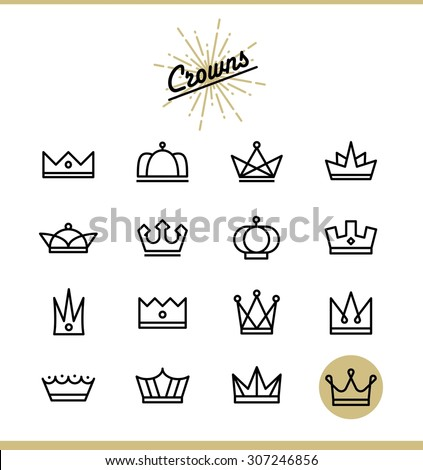 Set Line Crown Icons Vector Illustration Stock Vector 307246856