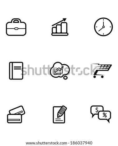 Set of line drawing business and shopping icons logo depicting a shopping cart, credit card, clock, briefcase, chart, graph, statistic, analysis, money, financial and information symbols - stock vector