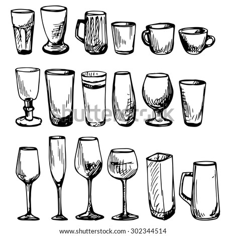 set of line drawing cups and wineglasses, hand drawn vector illustration