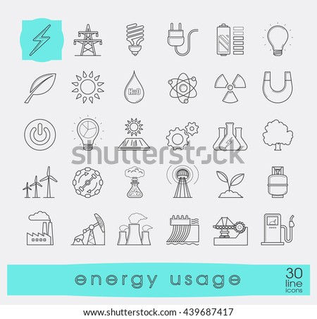 Set of line energy icons.