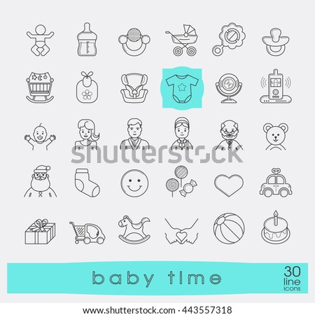 Set of line icons for baby care, feeding and play. First year of parenting. Collection of baby time icons. Accessories for newborn in the family. Love, care, family life. Vector illustration.