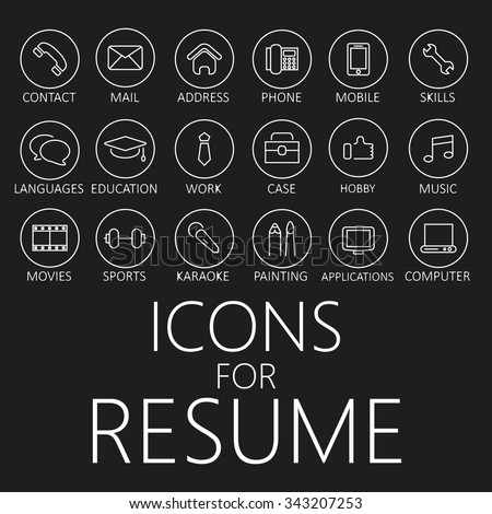 Set line icons your resume cv stock vector 343207253 for Free resume icons